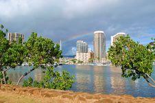 Free Rainbow Over Honolulu Stock Images - 21070184