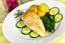 Stock Photo: Grilled Chicken Breast With Green Bea Stock Photo