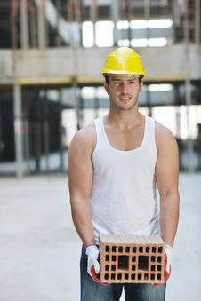 Free Hard Worker On Construction Site Royalty Free Stock Photo - 21071325
