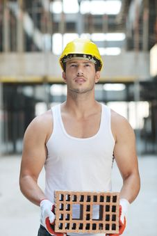 Free Hard Worker On Construction Site Stock Images - 21071424