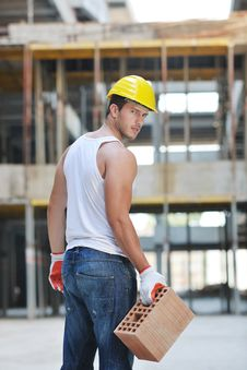 Free Hard Worker On Construction Site Stock Photography - 21071732