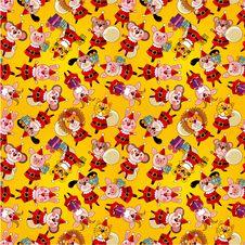 Free Cartoon Animal Santa Claus,xmas Holiday Seamless Stock Photos - 21071813