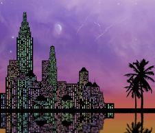 Colorful City Skyline Stock Photos
