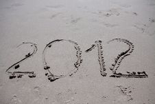 New Year 2012 On The Beach Royalty Free Stock Image
