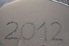 New Year 2012 On The Beach Royalty Free Stock Photo