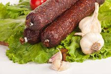 Free Salami With Lettuce And Tomatoes Stock Photo - 21073890