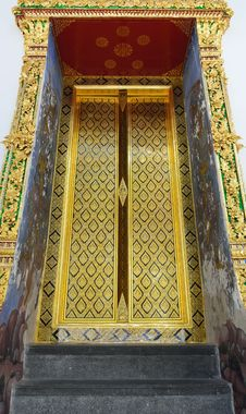 Free Traditional Thai Style Church Door Stock Photo - 21074220
