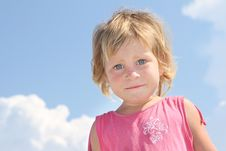 Free Young Girl On Sky Background Stock Photo - 21076130