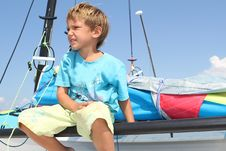 Free Boy On Board Of Sea Catamaran Stock Image - 21076241