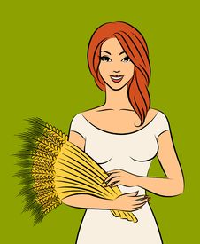 Free Girl With Sheaf Of Wheat. Royalty Free Stock Photo - 21076395