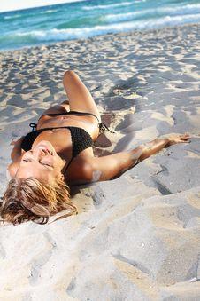 Woman In Bikini On Sea Background Stock Images