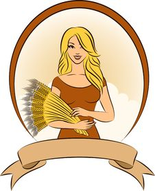 Free Girl With Sheaf Of Wheat. Royalty Free Stock Image - 21076946