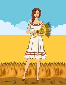 Free Girl With Sheaf Of Wheat. Stock Photos - 21076953