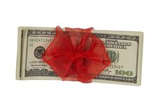 Free Dollars With Ribbon, Top View Stock Images - 21077064