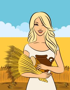 Free Girl With Sheaf Of Wheat. Royalty Free Stock Photo - 21077145