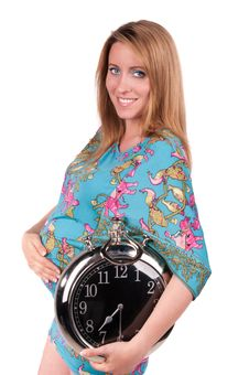 Free Portrait Of Happy Pregnant Woman With Clock Royalty Free Stock Photography - 21077157