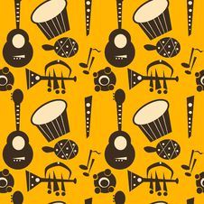 Retro Music Instruments Background Stock Image