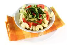 Free Pasta With Red Pepper Zucchini Vegetable Royalty Free Stock Images - 21077449
