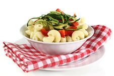Free Pasta With Red Pepper Zucchini Vegetable Royalty Free Stock Images - 21077489