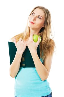 Free Lovely Girl With Book And Apple Royalty Free Stock Photography - 21077797