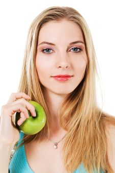 Free Lovely Girl With Green Apple Stock Images - 21077804