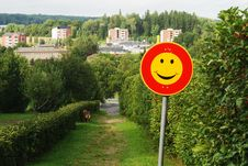 Smiley Traffic Sign Stock Photo