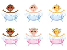 Free Baby In The Bath,set,icons. Royalty Free Stock Photo - 21078765