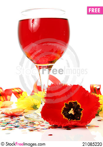 Free Wine And Flowers Stock Photo - 21085220