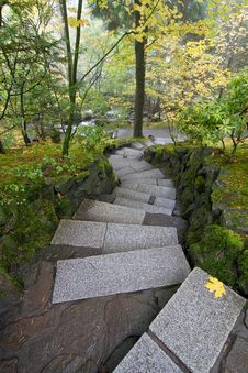 Stone Steps In Japanese Garden Royalty Free Stock Photos