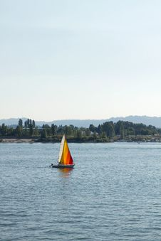 Colorful Sailboat On The Columbia River Stock Images