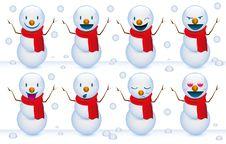 Free Smile Snowmen Royalty Free Stock Image - 21080706