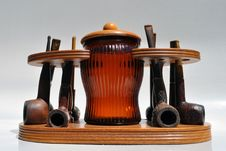 Vintage Pipe Set And Humidor From A Bygone Era Royalty Free Stock Image
