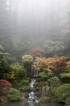 Waterfall At Japanese Garden In Fall Stock Image