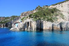 Free Blue Caves Of Zakynthos Royalty Free Stock Image - 21081126