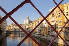 Free Girona Cathedral From Eiffel Bridge Royalty Free Stock Photos - 21081698