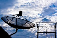 Free Satellite Dish And Electricity Post Royalty Free Stock Images - 21083729