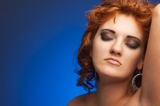 Free Portrait Of Young Beautiful Woman On Blue Royalty Free Stock Image - 21083826