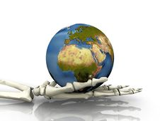 Earth And Skeleton Hand Royalty Free Stock Photo