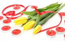 Free Yellow Tulips And Tape Royalty Free Stock Images - 21084309