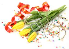 Free Tulips And Streamer Royalty Free Stock Photography - 21084397