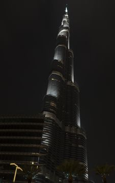 The Burj Khalifa At Night Royalty Free Stock Images