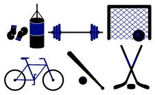 Free Set Of Sporting Equipment. Vector Illustration. Royalty Free Stock Images - 21085319