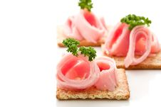Free Crackers Canapes With Ham And Parsley Royalty Free Stock Image - 21086226