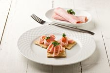 Free Crackers Canapes With Ham And Parsley Stock Image - 21086281