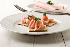 Free Crackers Canapes With Ham And Parsley Stock Photo - 21086330