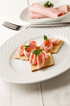 Free Crackers Canapes With Ham And Parsley Royalty Free Stock Photo - 21086355