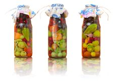 Jars With Conserved Vegetables Royalty Free Stock Photos