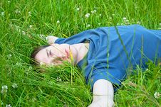 Free Young Man Lying On The Grass Stock Photos - 21089543