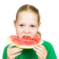Free Picture Of Young Girl And  Slice Of Watermelon Stock Photos - 21089773