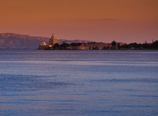 Messina Harbor And Lighthouse At Sunset Stock Images